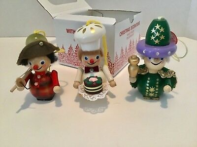 Rare Vintage Handmade Wooden Christmas Ornaments From Germany German Steinbach