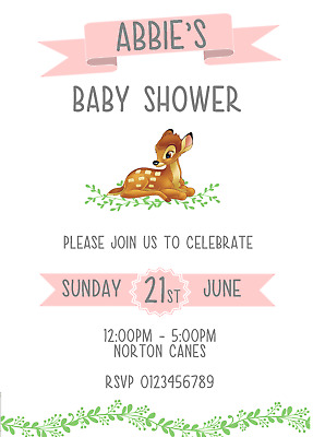 Disney Bambi Baby Shower Invitations Personalised Pink