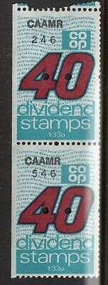 GB = `CO-OP DIVIDEND` 2 x 40 Unit Savings Stamps. MNH. Not now given. (zc)