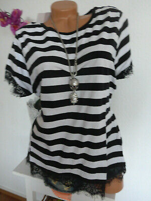 Shirt Arizona AJC short sleeve striped with lace black white Gr.  34 to 46 (553)