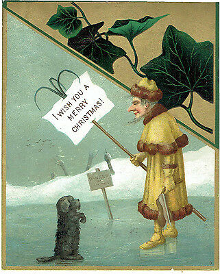 Victorian Christmas Greetings Card Jack Frost Amp Dog On Ice