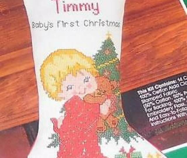 Bucilla Counted Cross Stitch Stocking Kit Babys First Christmas Tree Gift Teddy