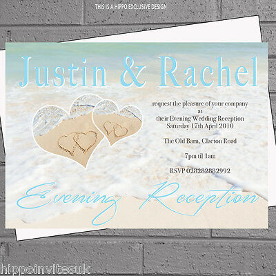 Beach Heart In Wedding Abroad Invitations X 12 With Env H1084
