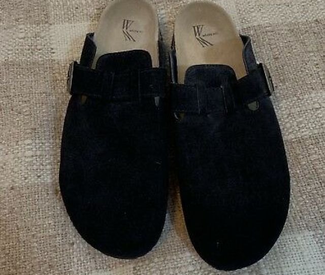 White Mountain Getty Black Suede Leather Shoes 11m Slide In Mules Comfort Clogs