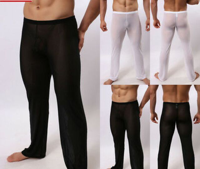 Us Mens Sexy Pajama Bottoms See Through Trousers Yoga Pants Mesh Loose Sleepwear