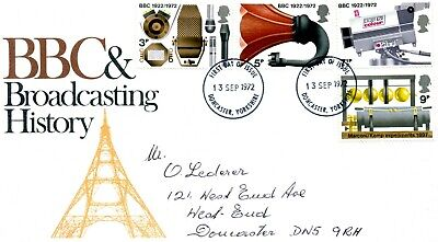 Post Office First Day Cover - Bbc & Broadcasting History - 13 Sep 1972