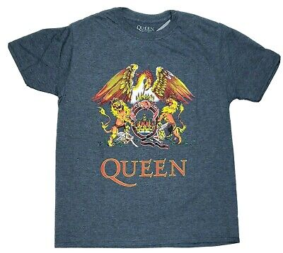 Queen Classic T Shirt Official Band Freddie Mercury Crest Logo Heather New