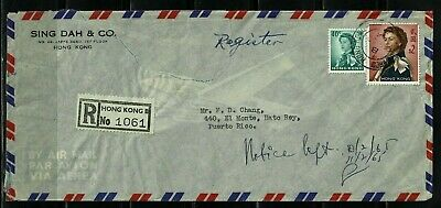 Hong Kong Stamps: 1965 Registered Commercial Air Mail Cover to Puerto Rico
