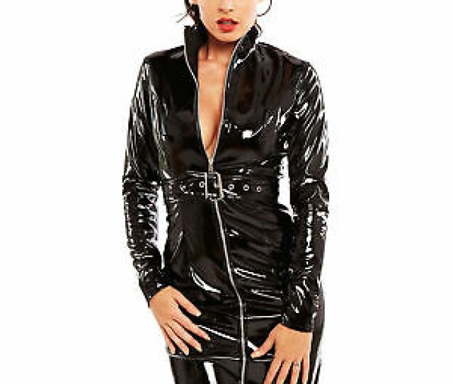 Honour Womens Sexy Dress In Black Pvc Kinky Dominatrix Outfit Costume
