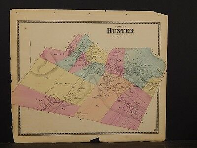 NEW YORK  GREENE County Map  1867  Hunter Township  Y4 09    33 96     New York  Greene County Map  1867  Hunter Township  Y4 09