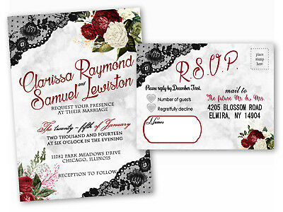 Qty 85 Lace Black And Red Wedding Invitations Rose Custom