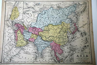 Asia Maps  Maps  Atlases   Globes  Antiques   PicClick 1862 Rare Beautiful Antique Mitchell Atlas Map Asia Handcolored