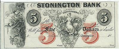 Connecticut Stonington Bank 18XX G40b Obsolete Choice Cu Red V Ink Note # 2