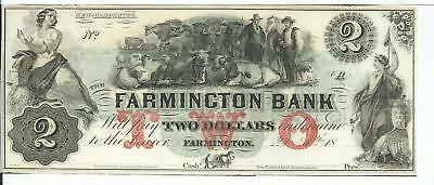 Farmington New Hampshire 18XX G4b Bank Note Plate A Cu Red Beef On Print
