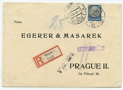 DEUTSCHES REICH SUDETENLAND R Brief Weipert Prag 1938 FOR SALE ...