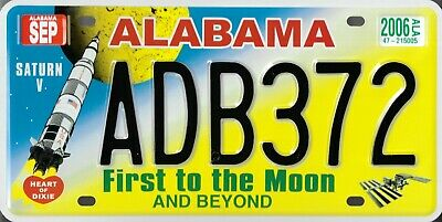 US LICENSE PLATE - ALABAMA first to the moon USA