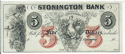 Connecticut Stonington Bank 18XX G40b Obsolete Choice Cu Red Ink V Note # 3
