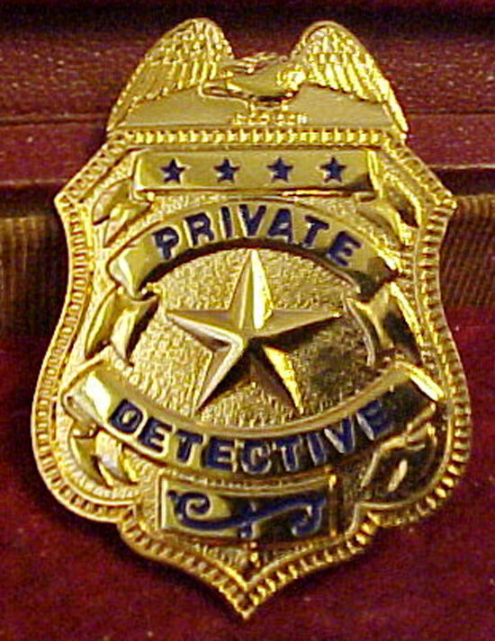 EARLY PRIVATE DETECTIVE Badge 10K Gold Plate As Seen In ...