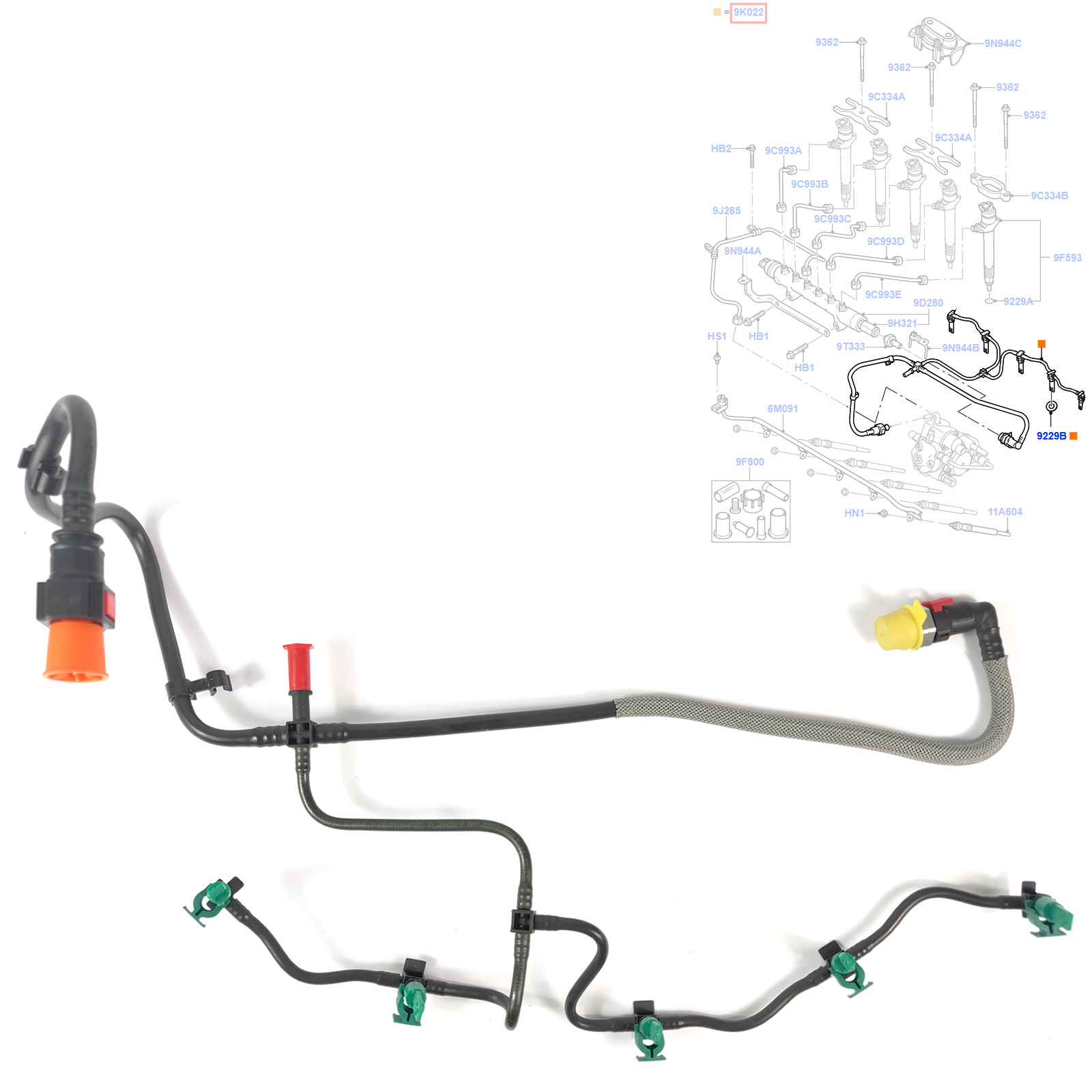 ford fuel injector return pipe with clips fits transit mk7 3 2 tdci