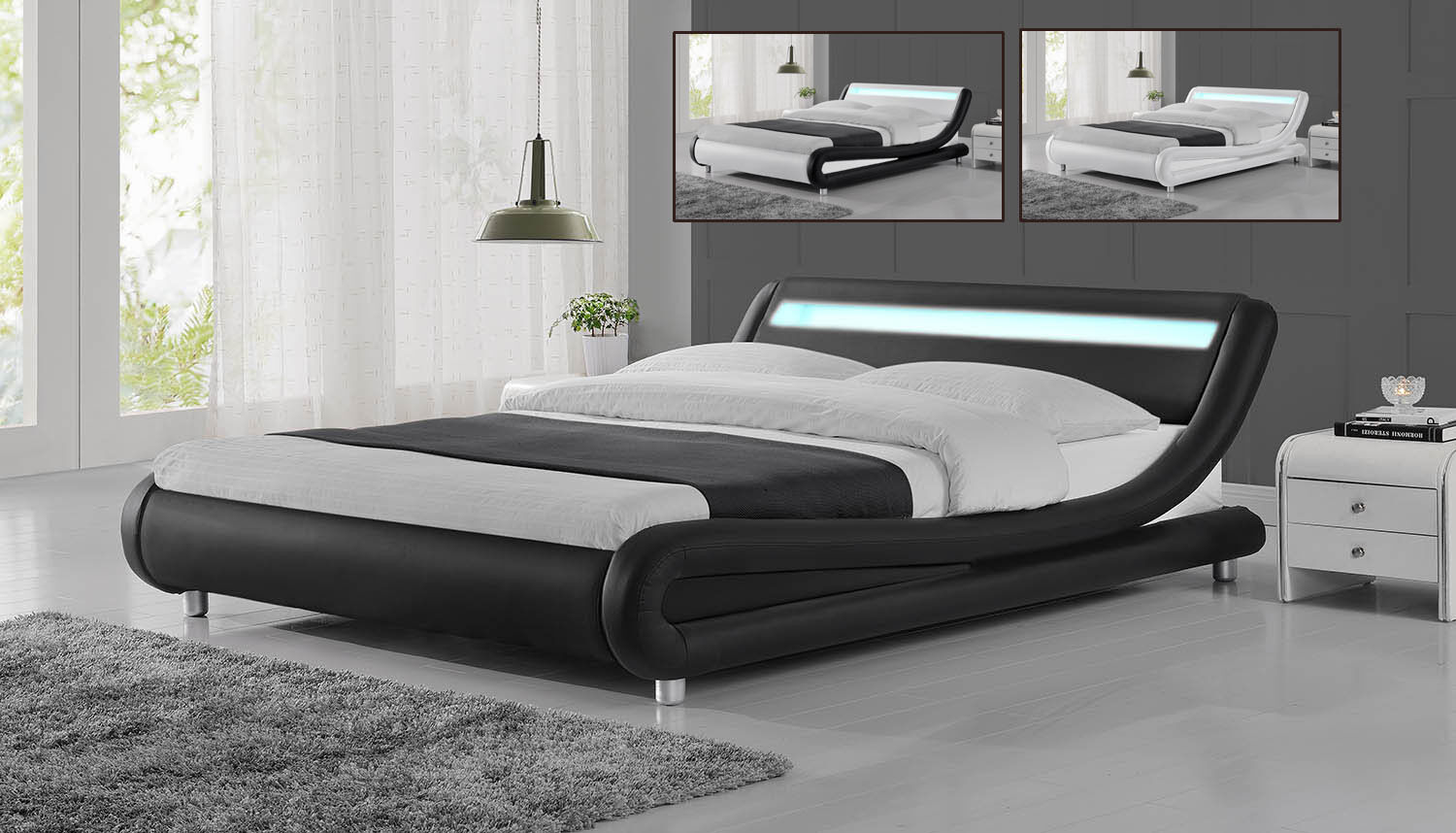 Modern Designer Led Low Bed Frame Single Double King Size