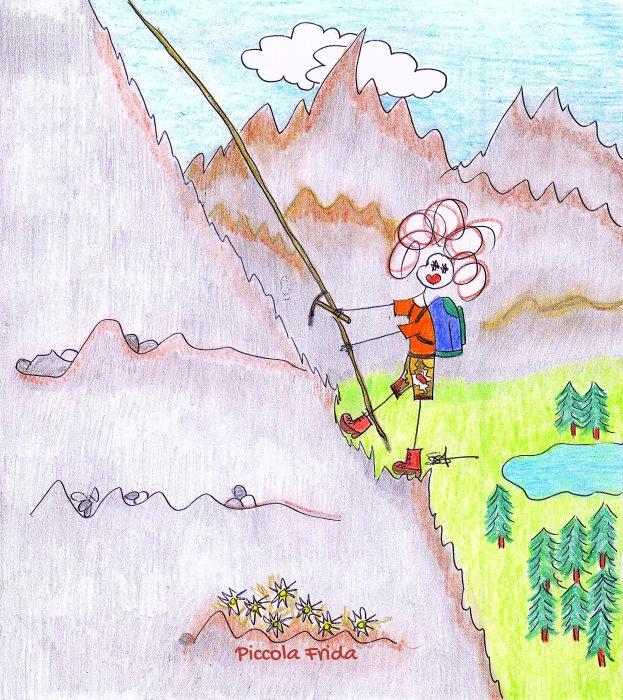 disegno - illustrazione alpinista - scalatrice in montagna