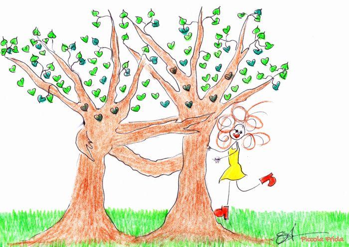 disegno naif di due alberi che si abbracciano con una bambina