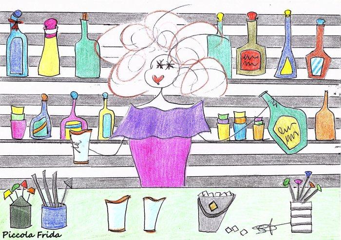 disegno barista che fa cocktail - illustrazione