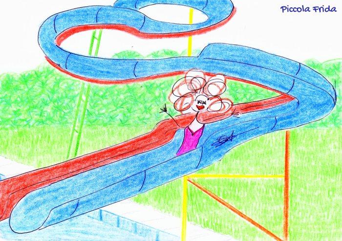 disegno - illustrazione ragazza sul toboga in piscina