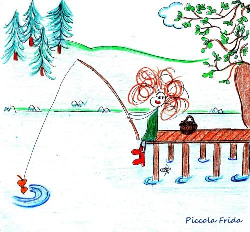 disegno di una bambina che pesca seduta su un pontile in un lago