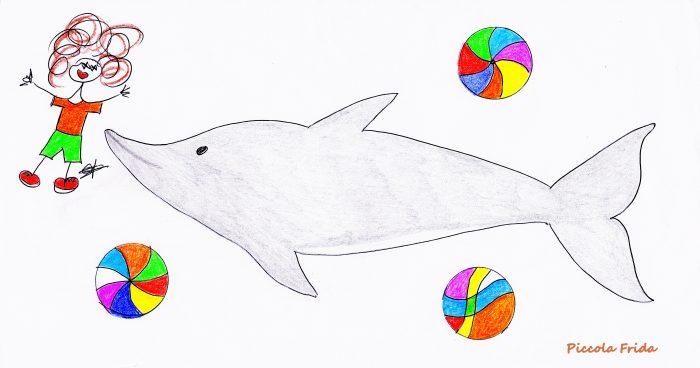 disegno illustrazione delfino che gioca con le palle colorate