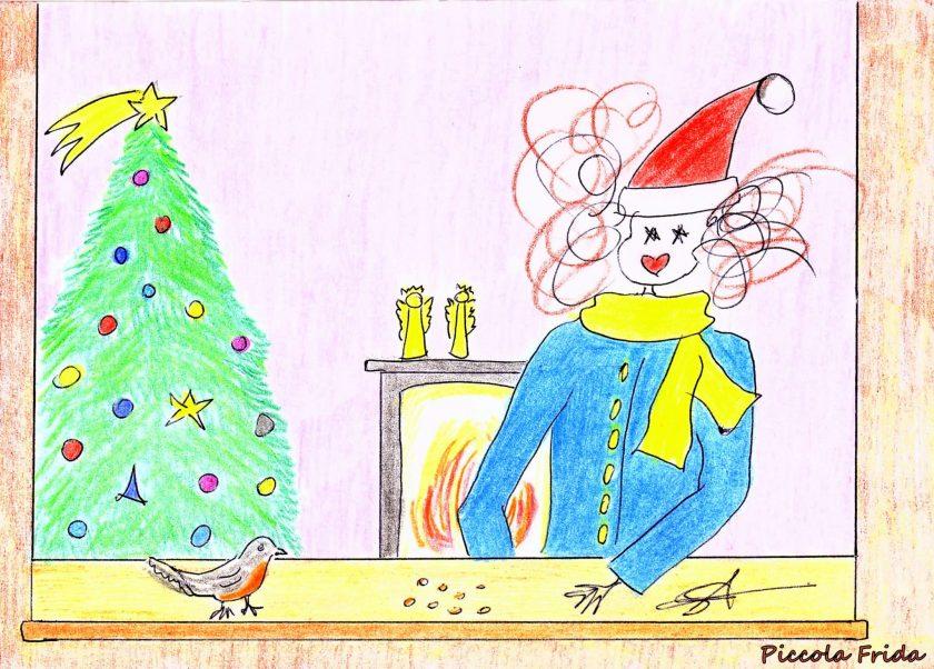 disegno - illustrazione uccellino - freddo inverno