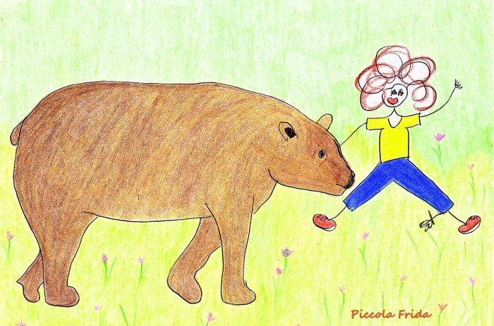 Illustrazione per bambini - disegno di un orso che gioca con un bambino - illustrazione di Susanna Albini