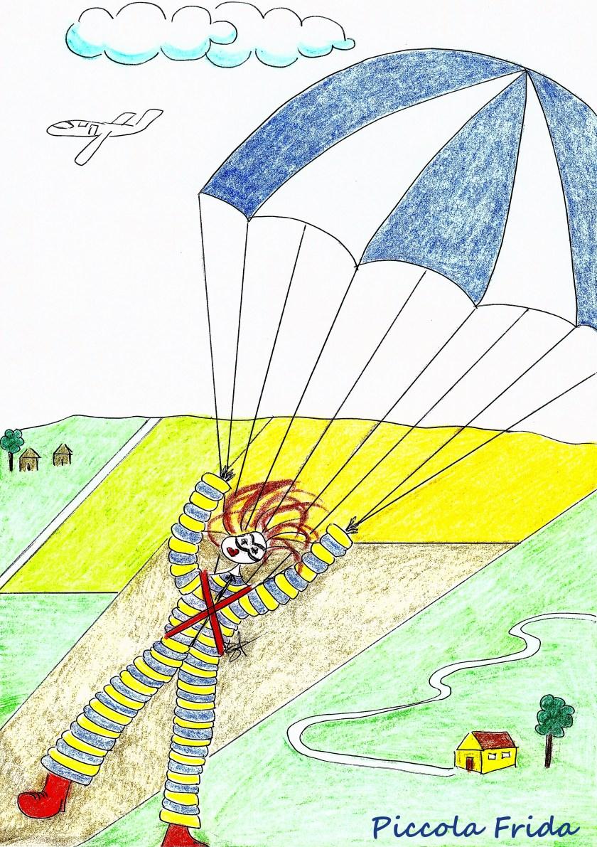 Piccola Frida - disegno freetime - adventure - paracadute - illustrazione di Susanna Albini