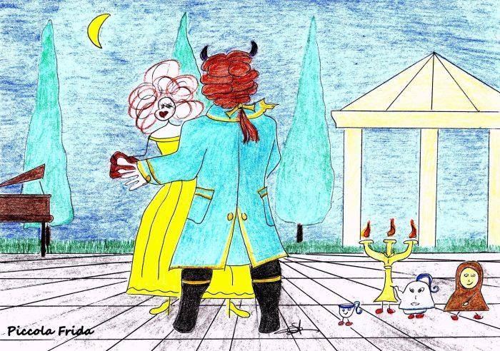 disegno-illustrazione fiaba - disegno La bella e la bestia che ballano