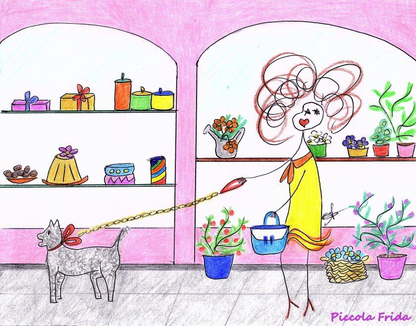 disegno vetrine - shopping col cane - illustrazione di Susanna Albini