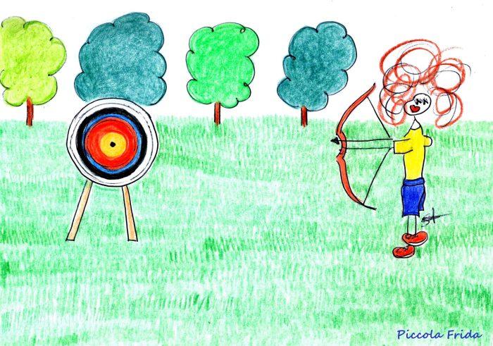 disegno tiro con l'arco - sport - illustrazione di Susanna Albini