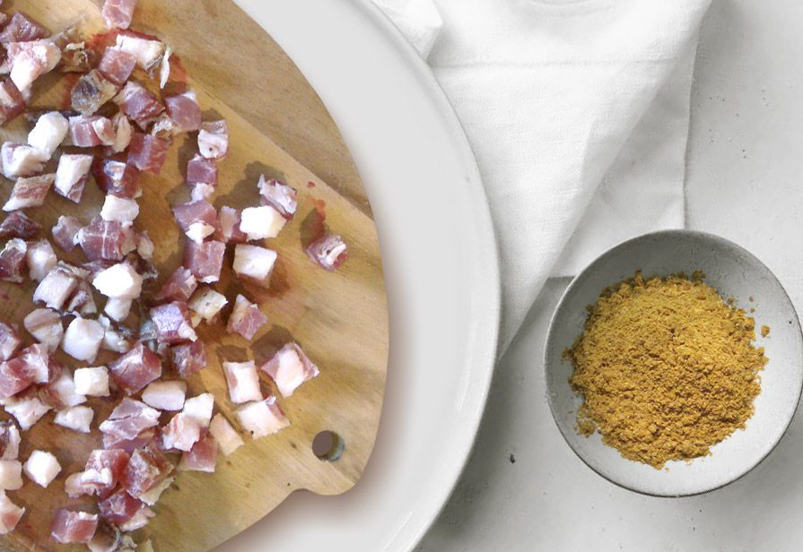 Sugo al curry e pancetta