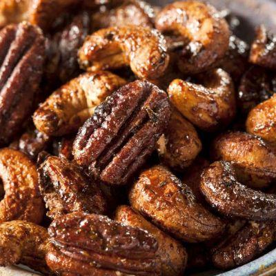 Anacardi e noci Pecan caramellati