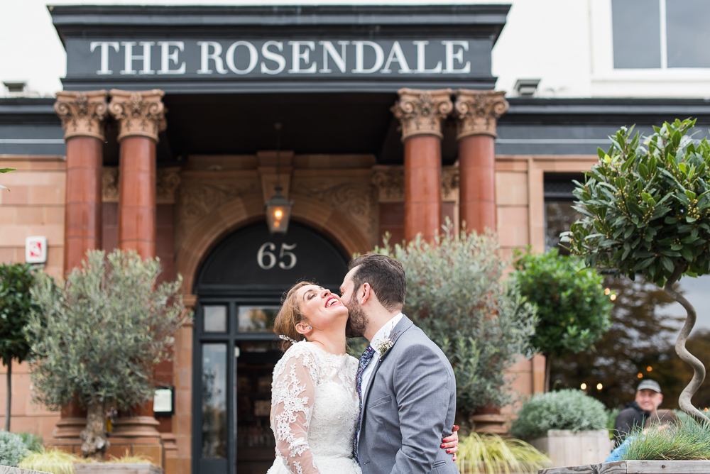 Couple portrait in front of the Rosendale Duwlich