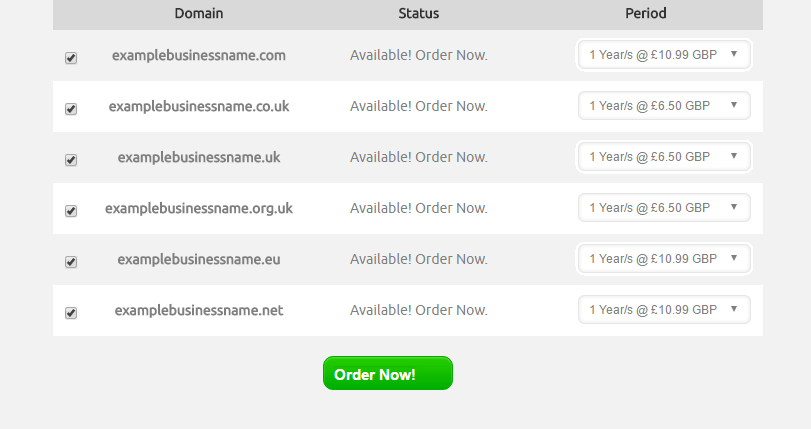 Domains that are available