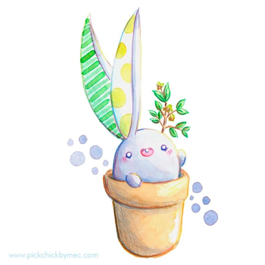 bulbunny conejito plantas ilustracion acuarela kawaii