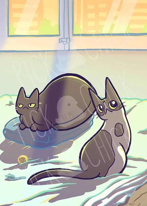 Encargo de ilustracion para Marta de sus dos gatos
