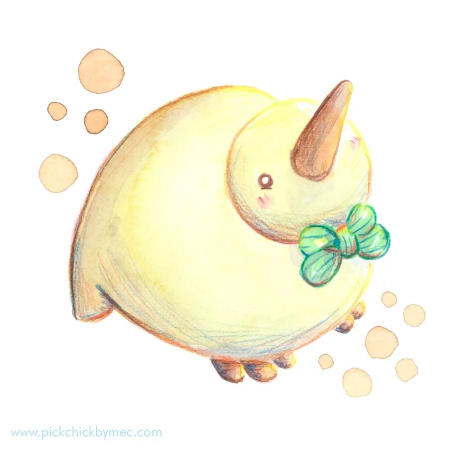 kiwtie ave kiwi ilustracion acuarela kawaii