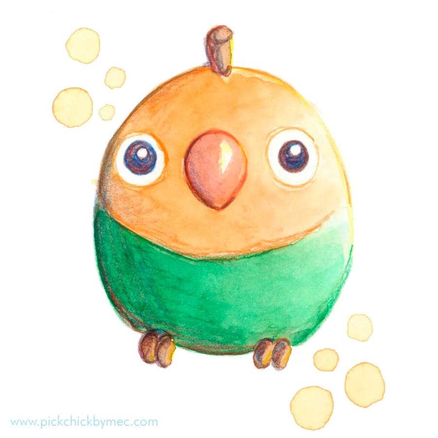 mangoporni mango agaporni ilustracion acuarela kawaii