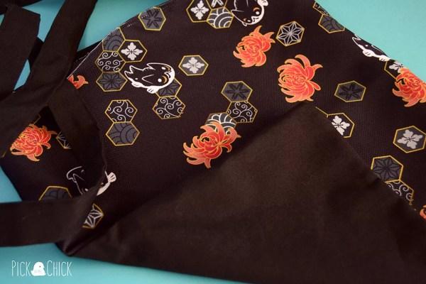 Totebag artesanal hecha a mano con estampado japones nekoi carpas gato kawaii