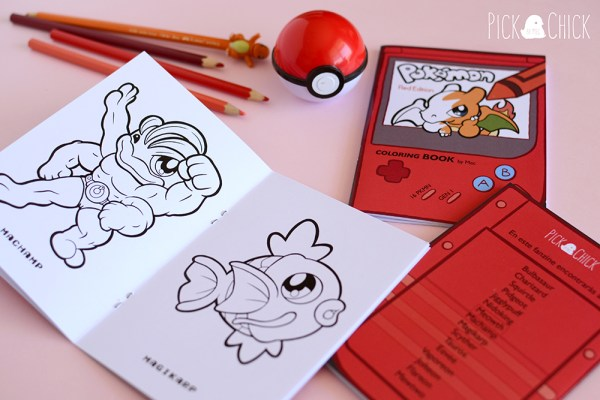 Fanzine libro de colorear pokemon rojo y azul kawaii