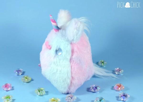 Peluche pollito kawaii chiripio version unicornio pastel hecho a mano