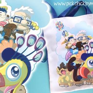 Totebag artesanal hecha a mano con ilustración de Up, pelicula de pixar