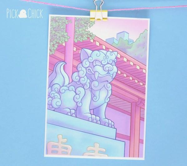 cuadro shishi perro guardián japonés