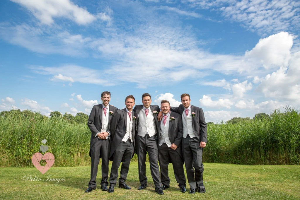 Groomsmen posed at the waterside in swindon, Pickin images photography